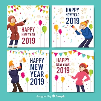 New year people cards