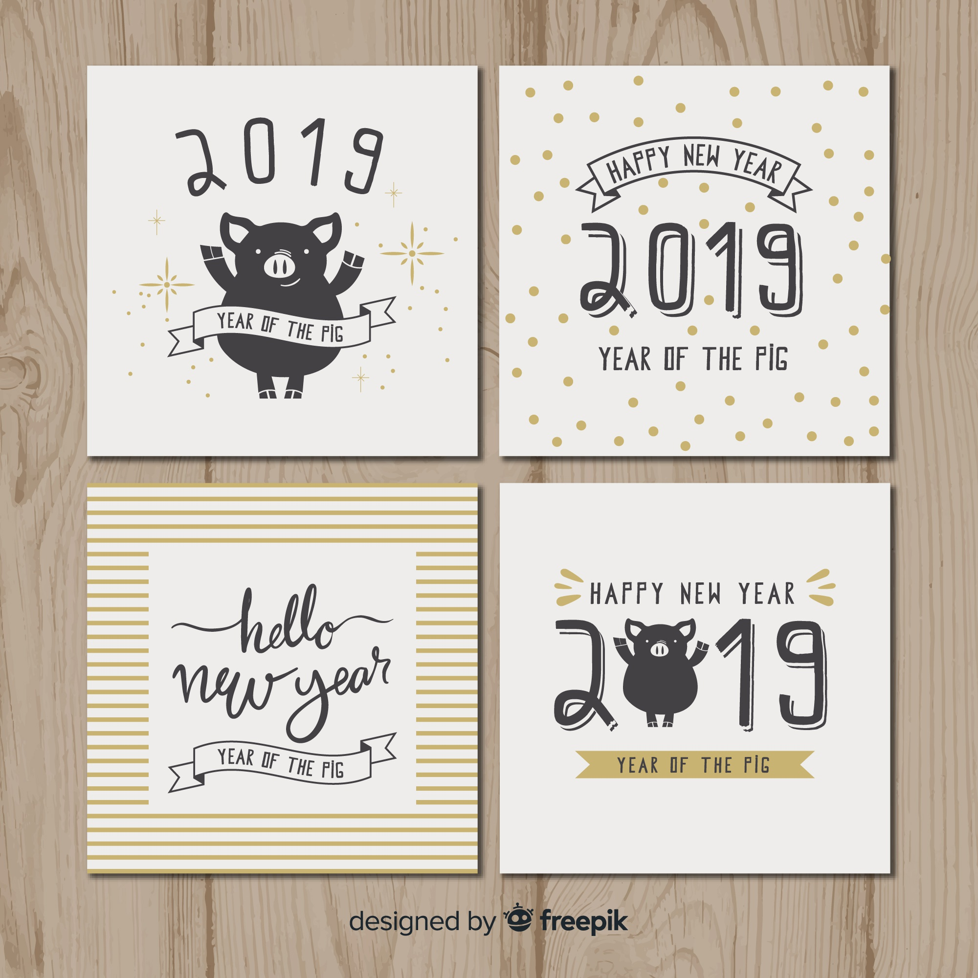 New year pig cards pack