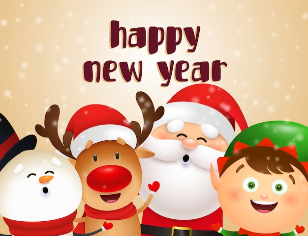 New year postcard design with christmas characters