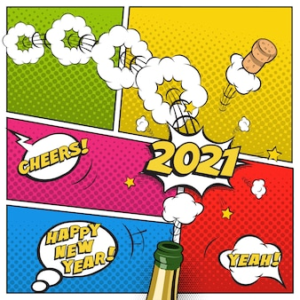 新年のはがきやグリーティングカードテンプレート、シャンパンボトルと空飛ぶコルクのコミックスタイルでお祝いのレトロなデザイン。