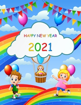 New year poster design with kids playing on rainbow