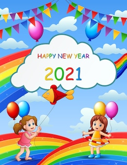 New year poster design with kids on rainbow
