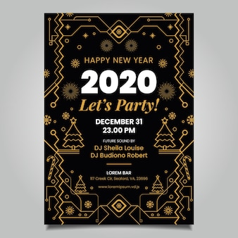 New year poster template outline style