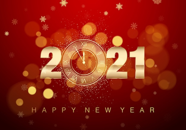 인사말 텍스트와 함께 새 해 포스터입니다. 0 대신 황금 시계. 붉은 색의 휴일 자정 카운트 다운.