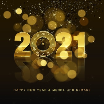 New year poster with greeting text. golden clock instead of zero. holiday decoration element for banner or invitation. holiday midnight countdown.