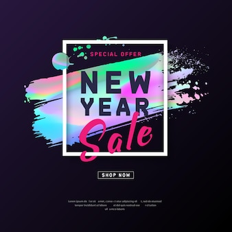 New year poster with holographic effect brush stroke