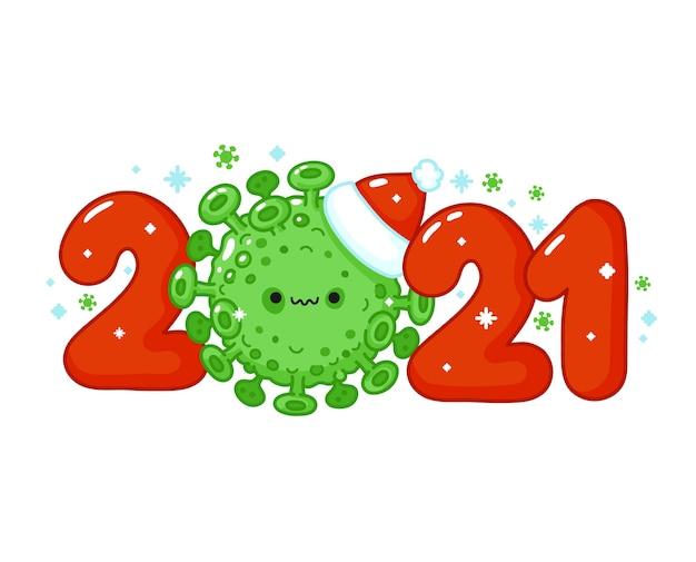 새해는 크리스마스 모자 문자에 무서운 바이러스 세포로 인쇄됩니다. 메리 크리스마스 카드. 벡터 라인 만화 귀여운 캐릭터 그림 아이콘입니다. 흰색 배경에 고립. 2021 새해 개념