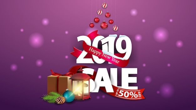 New year purple discount banner with large numbers 2019, gifts and antique lamp