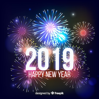 New year realistic fireworks background