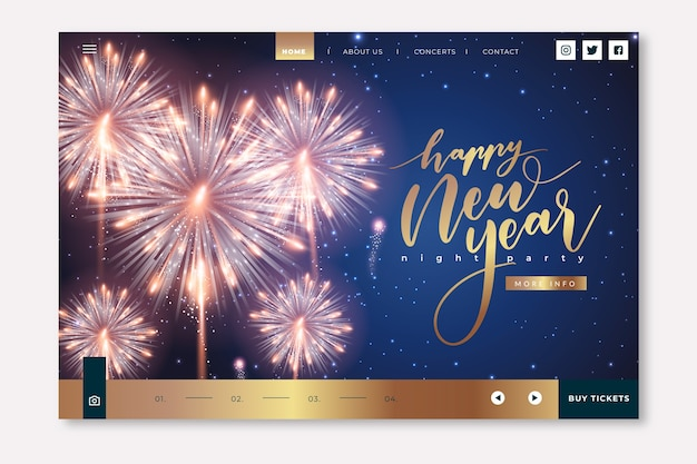New year realistic landing page