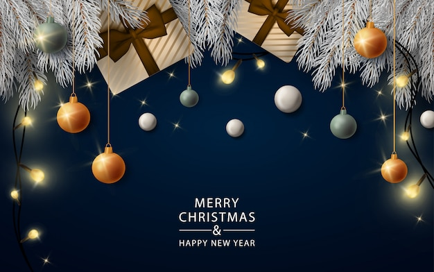New year realistic lights banner