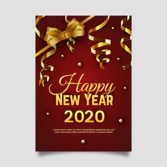 New year realistic poster template