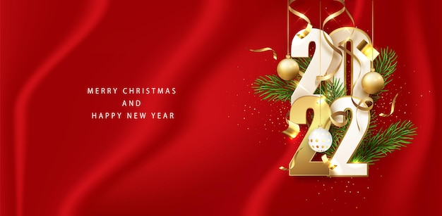 새해 빨간색 배너 2022 골드 반짝이 번호. 가로 휴일 포스터, 인사말 카드, 웹 사이트 헤더. 새해 복 많이 받으세요.