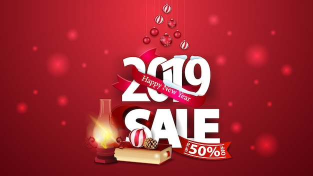 New year red discount banner with large numbers 2019, christmas books and antique lamp