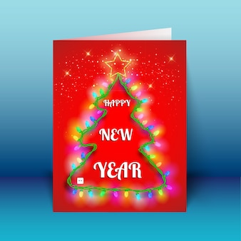 New year red greeting card with light garland in christmas tree shape on blue background vector illustration