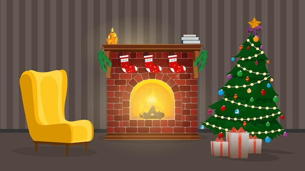 New year. a room with a fireplace, a christmas tree and gifts. .