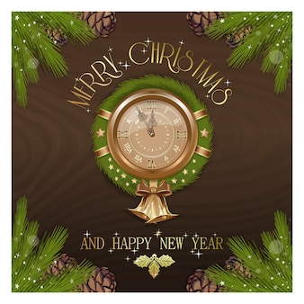 New year round clock with christmas wreath. vintage antique clock decorated traditional holiday wreath from spruce branches and christmas decorations.