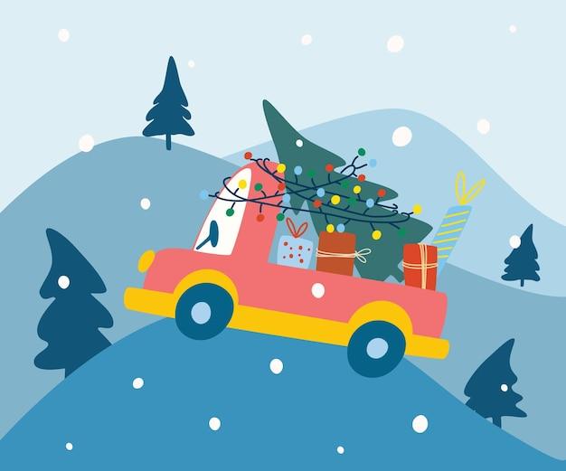 Новогодняя машина с подарками. зимний лес. с рождеством и новым годом дизайн. праздничный баннер, веб-плакат, флаер, стильная брошюра, поздравительная открытка. вектор рука рисовать иллюстрации шаржа.