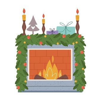 New year's decorative fireplace