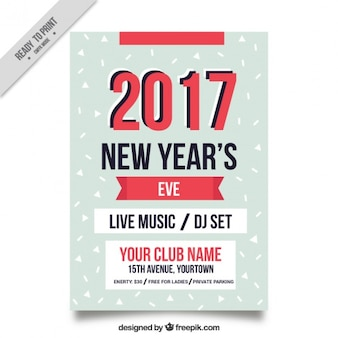 New year's eve flyer template with red details