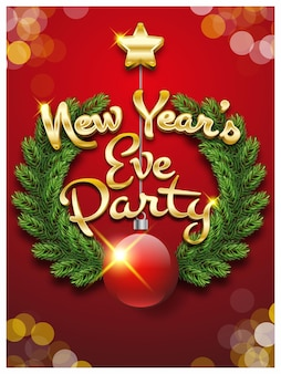 New year's eve party invitation card christmas party vector illustration