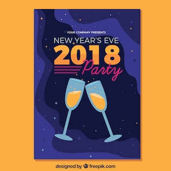 New year's eve party poster with two glasses of champagne