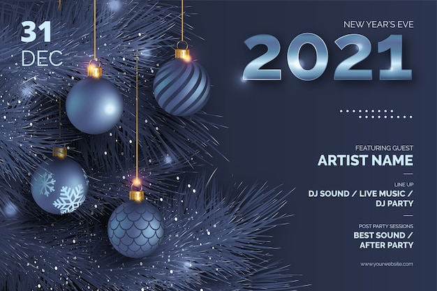 New year's eve poster with realistic christmas balls