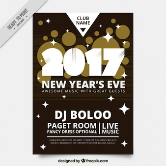 New year's eve poster with stars and golden circles