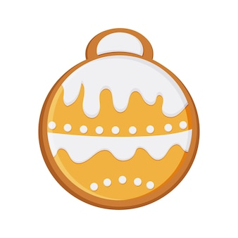 New year's gingerbread in the form of a toy for the christmas tree. christmas, food. vector