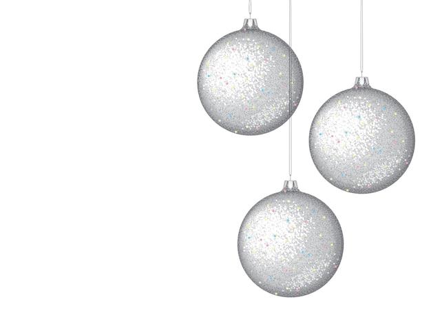 白い背景の上の新年のガラス玉