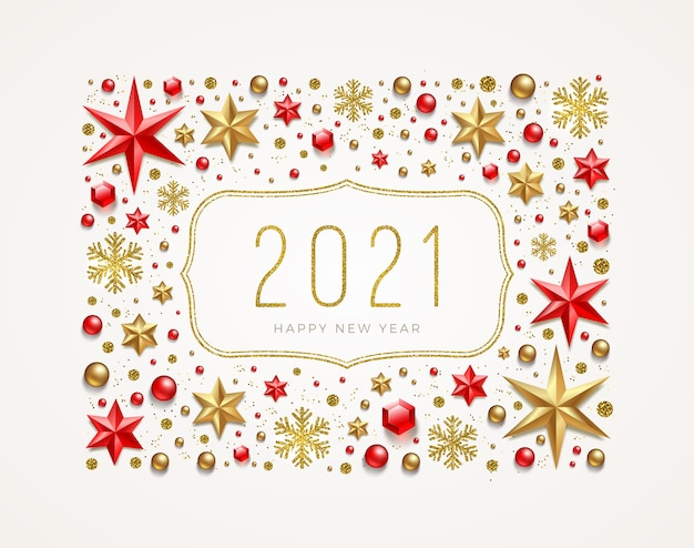 New year's greetings  in a frame made of holiday decor Premium Vector