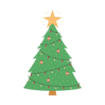 Новогодняя иллюстрация елки с игрушками и гирляндой.