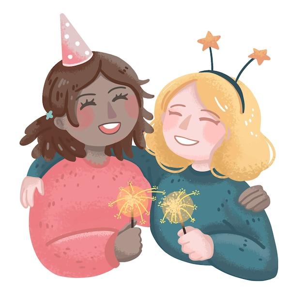 새해 그림 두 다국적 소녀 포옹 및 축하