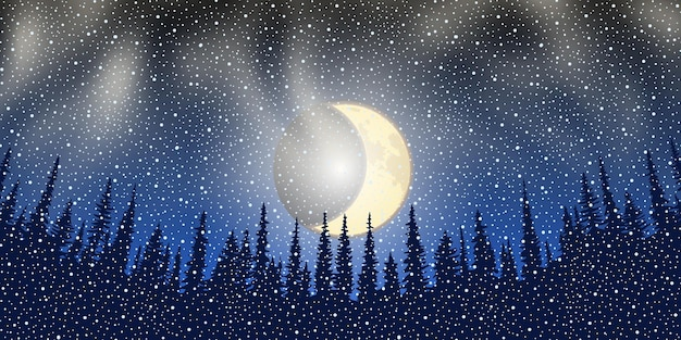 New year's night, trees against the background of the dark sky with the moon, vector illustration