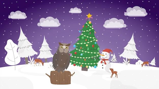 お正月の夜。冬、外は雪。エレガントなクリスマスツリー。 。