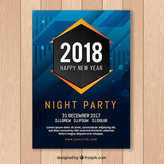 New year's party abstract poster in dark blue with orange elements