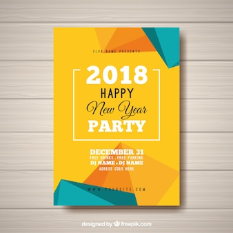 New year's party abstract poster in yellow and turquoise