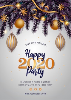 New year's party flyer with golden decoration
