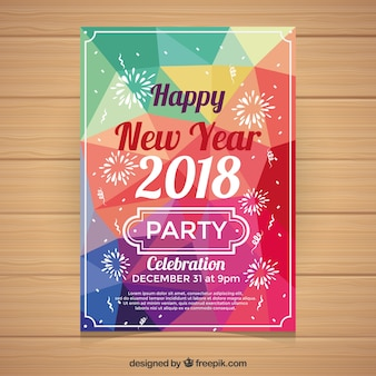New year's party poster in many different colours