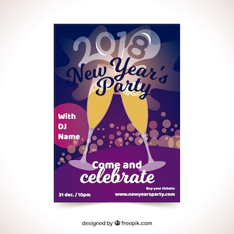 New year's party poster with glasses of champagne