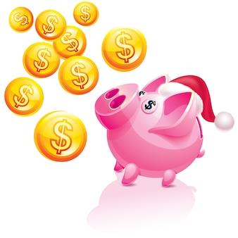 New year's piggy bank for money rain