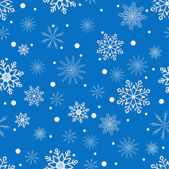 New year's seamless pattern with white snowflakes on blue. vector illustration.