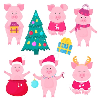 New year s set of cute pigs. funny characters. santa claus costume. piggy with a christmas ball, in a sweater with deer, in a hat and scarf, with gift box. christmas fir tree decorated