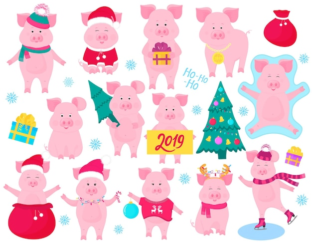 New year s set of cute pigs. funny characters. santa claus costume, snow angel, piggy skating. christmas fir tree decorated