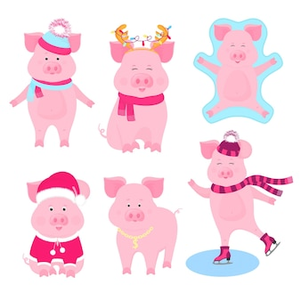New year's set of cute pigs. funny characters. santa claus costume, snow angel, piggy skating, with a gold medal, in a hat and scarf.