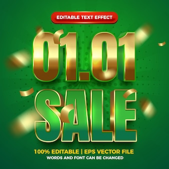 New year sale 01 01 green gold bold 3d editable text effect