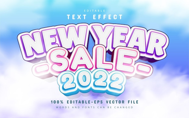 New year sale 2022, editable text effect cartoon style