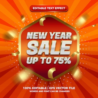 New year sale badge super red gold glossy 3d editable text effect