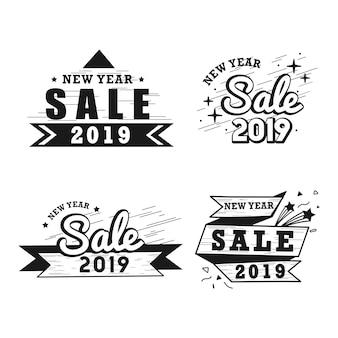 Новый год продажи значок векторный набор