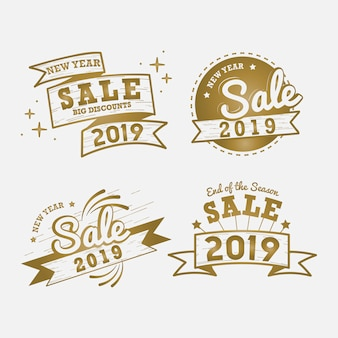 New year sale badge vector set